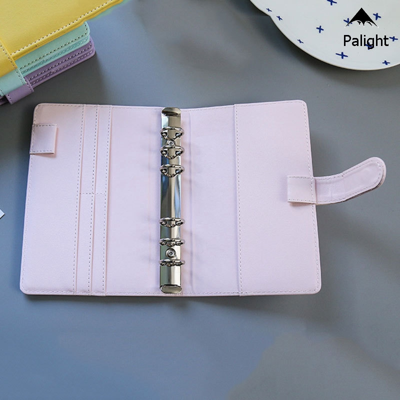 A5 Leather Loose-Leaf-Ring-Binder-Notebook Macaron Colour Agenda Planner Diary